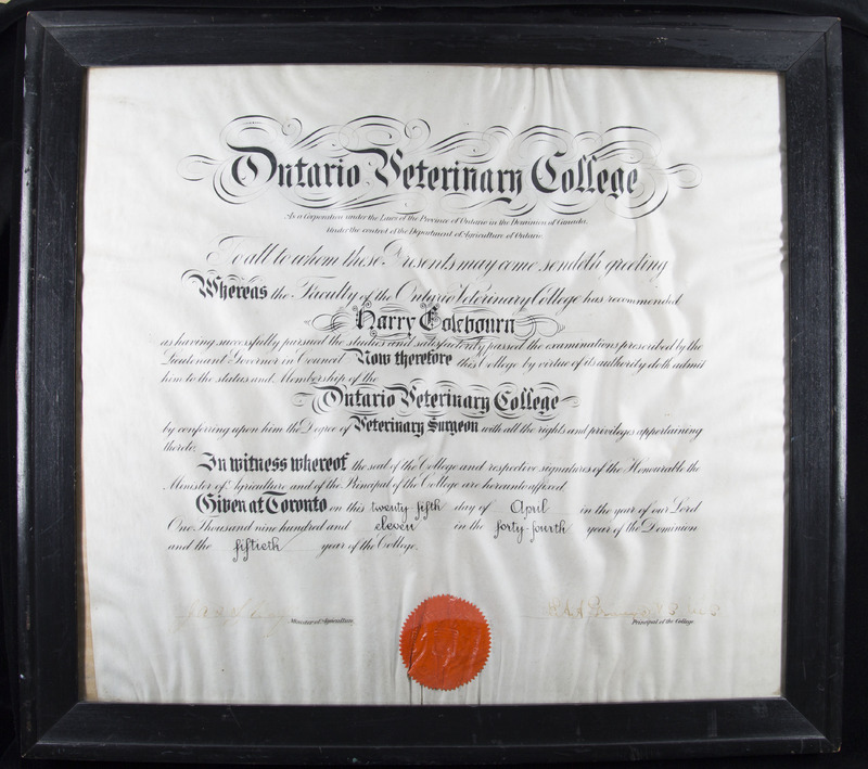 Harry Colebourn's Diploma from the Ontario Veterinary College