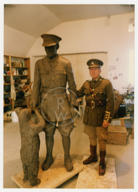 Fred Colebourn with statue of Harry Colebourn and Winnie
