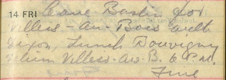 Diary Entry that reads: Leave Barlin for Villers-Au-Bois with Dixon.  Lunch Bouvigny return Villers-au-B. 6 P.M.