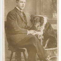 Harry Colebourn with his collie