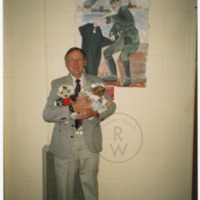 Fred Colebourn with stuffed toy bears