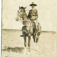 Harry Colebourn on horseback