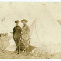 Harry Colebourn and Sergeant Assistant, in camp