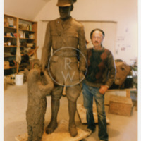 William Epp with Winnie-the-Bear statue